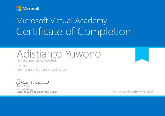 MVA Certificate: Security in Cloud-based World